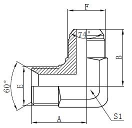 BSP hydraulische adapters tekenen