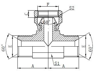 BSP hydraulische tee-tekening