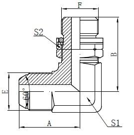 BSP O-ring verstelbare stud-tekening