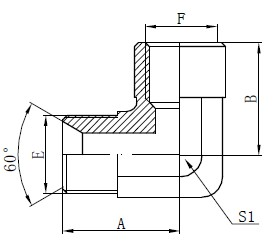 Elbow BSP Adapter Fittings Tekening
