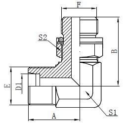Elleboog Hydraulische adapters Tekening