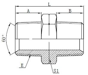 Hydraulische NPT mannelijke adapters tekenen
