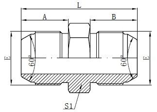 JIS metrische mannelijke adapters tekenen