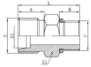 SAE O-ring Slangconnectoren Tekening